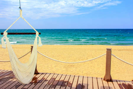 A beautiful view of the mexican coastline and the Sea of Cortez with an inviting hammock