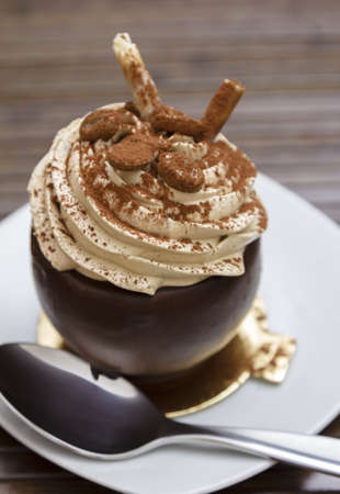 A delicious chocolate mocha dessert topped with whip cream and powder cinnamon, served on a white plate