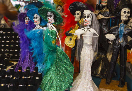 mexican dress: Day of the Death mexican wedding Calaveras found in a street shop in Los Angeles Stock Photo