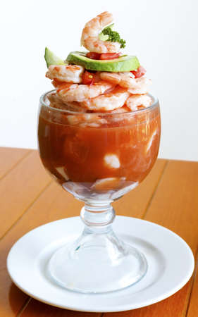 An exquisite mexican style seafood cocktail with shrimp, octopus, oysters and scallops Stok Fotoğraf