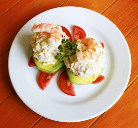 Exquisite seafood stuffed avocado with shrimp Stock Photo - 18026978