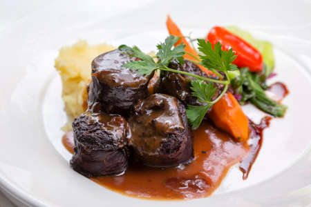 An exquisite Boudin Noir with a modern twist to this traditional dish from Southern France Stok Fotoğraf