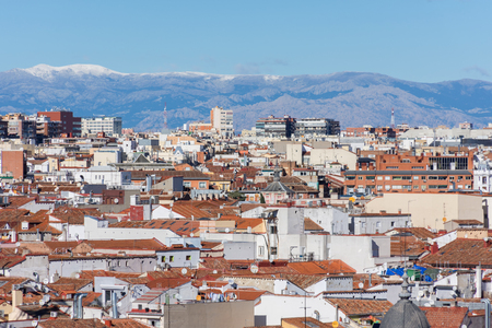 balcony: Panoramic aerial view of the city of madrid with the skyline of the sierra mountains