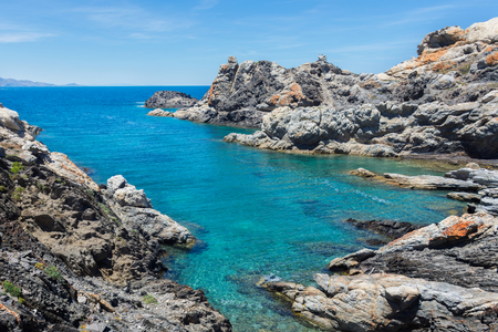 panoramic view of the rock coast on the Mediterranean sea in the natural park of Cap de Creus in Catalonia (Spain)