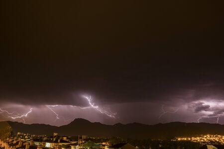 Lightning in Olot, La Garrotxa, Girona, Spain