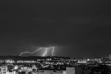 Lightning in Sabadell city, Barcelona, Spain