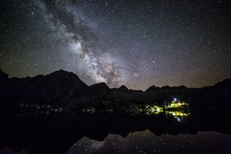 Milky way in Josep Maria Blanc Refuge, Aiguestortes and Sant Maurici National Park, Spain