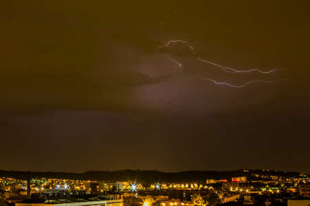 Lightning in Sabadell city, Barcelona, Spain
