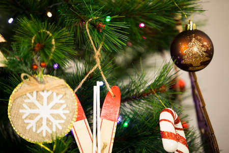 Christmas tree decorations and toys. Abstract and background scene.