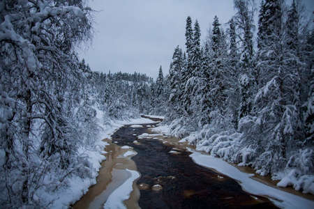 Winter landscape in Oulanka National Park, Lapland, northern Finland