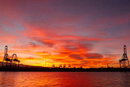 Wonderful sunset in Las Palmas port