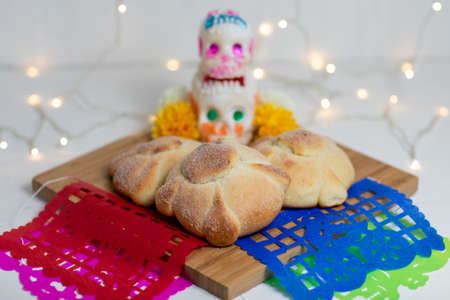Sweetbread called Bread of the Dead (Pan de Muerto), Day of the dead Mexican tradition composition