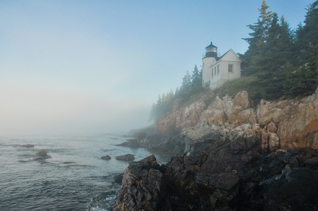 Bass Harbor Lighthouse in morning fog