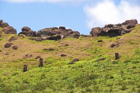 rano raraku: Moais at Rano Raraku volcano