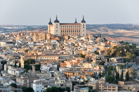 toledo town: Panoramic view of Toledo and Alcazar, Spain