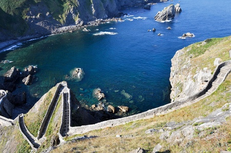 juan: Path to San Juan of Gaztelugatxe, Biscay (Spain) Stock Photo