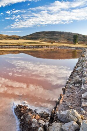 salt flat: Salt flat of Imon, Guadalajara (Spain) Stock Photo
