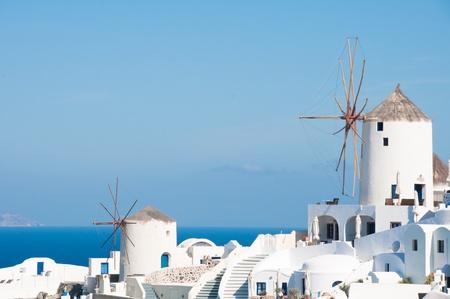 greek islands: Windmills in Santorini island (Greece)