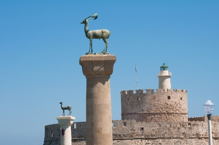 rhodes: Colossus of Rhodes island, Greece Stock Photo
