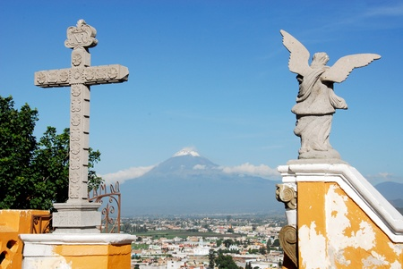 Popocatepetl and Iztaccihualtl volcanoes seen from Cholula