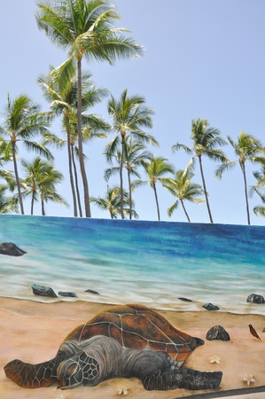 Mural with a Hawaiian Green Sea Turtle photo