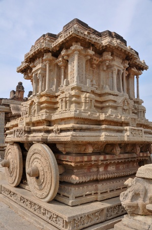 The stone Chariot located in the Vittala Temple, Hampi (India) photo