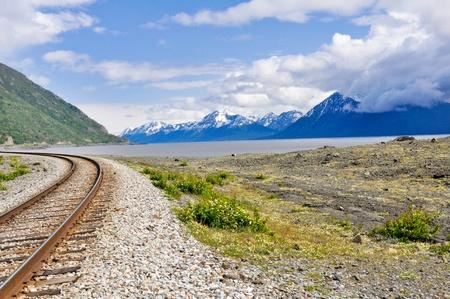 alaska scenic: Railroad tracks running through Alaskan landscape