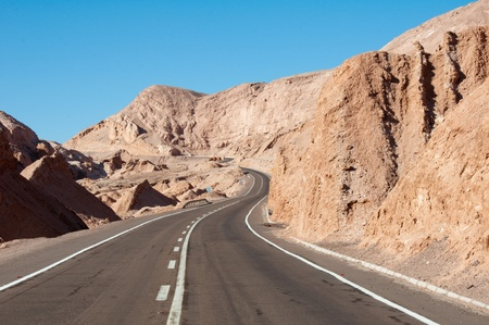 moon  desert: Road in Atacama desert, Chile Stock Photo