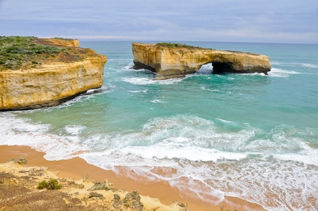 London bridge, famous rock formations in Great Ocean Rd (Australia) photo