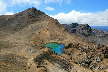 Emerald Lakes in the Tongariro Alpine Crossing, New Zealand photo