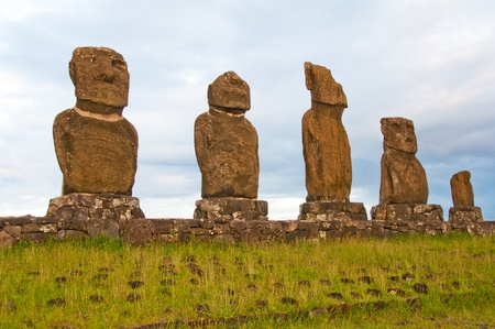 Moais in Tahai, Easter island (Chile)  photo