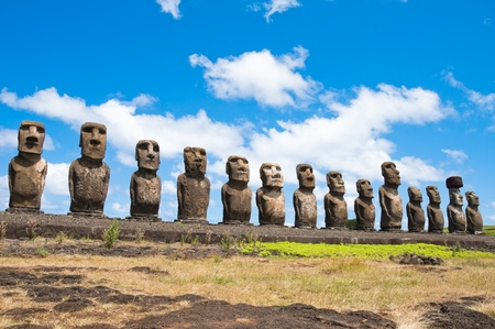 moai: Moais in Ahu Tongariki, Easter island (Chile)