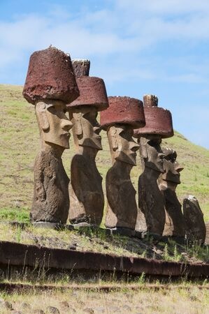 Moais in Anakena beach, Easter island (Chile)  photo