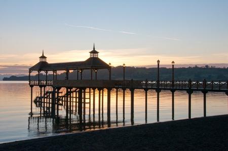 湖 Llanquihue (チリ) で桟橋 写真素材