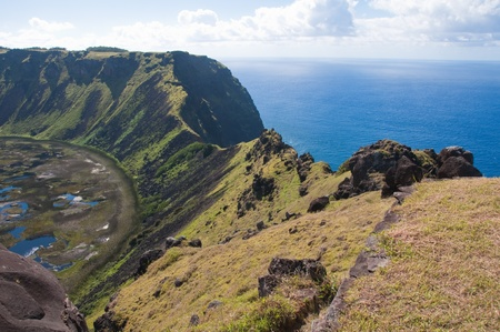 rapa: Rano Kau volcano, Easter island (Chile)  Stock Photo
