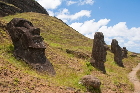 Moais at Rano Raraku, Easter island (Chile) photo