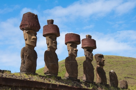 Moais near Anakena beach, Easter island (Chile)  photo