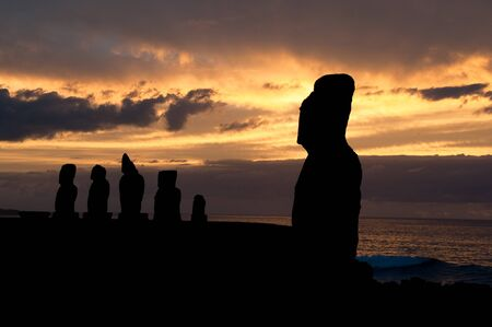 Sunset in Tahai, Easter island  Chile  photo