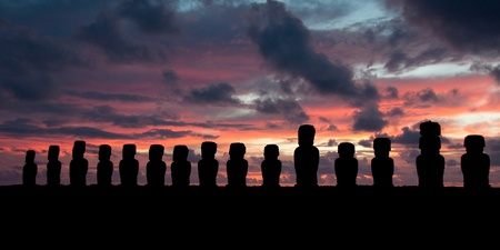 Sunrise at Ahu Tongariki  Easter island, Chile   photo