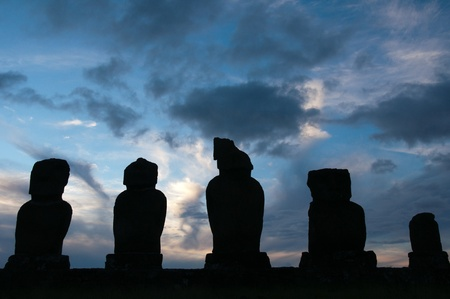 Sunrise at Ahu Tongariki  Easter island, Chile  photo
