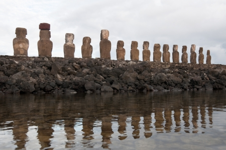 Moais in Ahu Tongariki, Easter island  Chile   photo