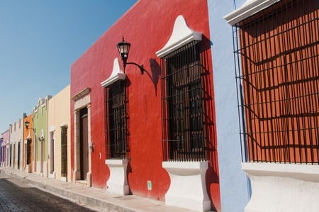 spanish village: Colonial architecture in Campeche  Mexico