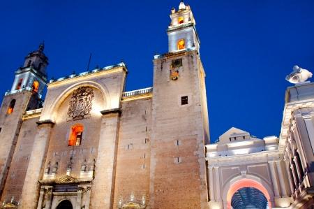 merida: Merida cathedral at night , Yucatan  Mexico