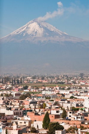 Popocatepetl volcano seen from Cholula  Mexico