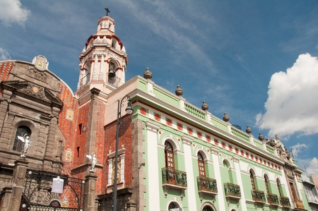 colonial building: Belen Church and Army museum in the historic center of Puebla  Mexico  Stock Photo