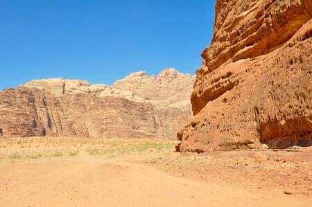 wadi: Wadi Rum desert, Jordan Stock Photo
