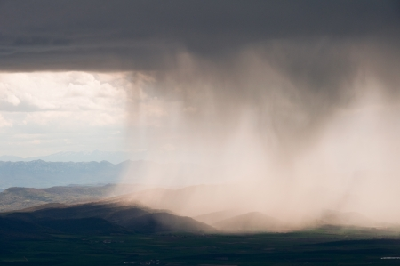 Rain Storm over Aizkorri range , Basque Country  Spain  Stock Photo