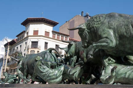 Los Encierros  Statue Pamplona,  Spain   Stock Photo