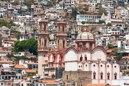 parish: Santa Prisca parish in Taxco de Alarcon, Guerrero  Mexico  Stock Photo