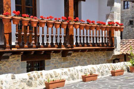 cantabria: Balcony with flowers, Cantabria  Spain